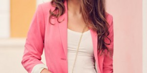 This H&M hot pink blazer ($34.95) is both a chic and spunky substitute for the traditional black blazer (Image courtesy of HM.com).