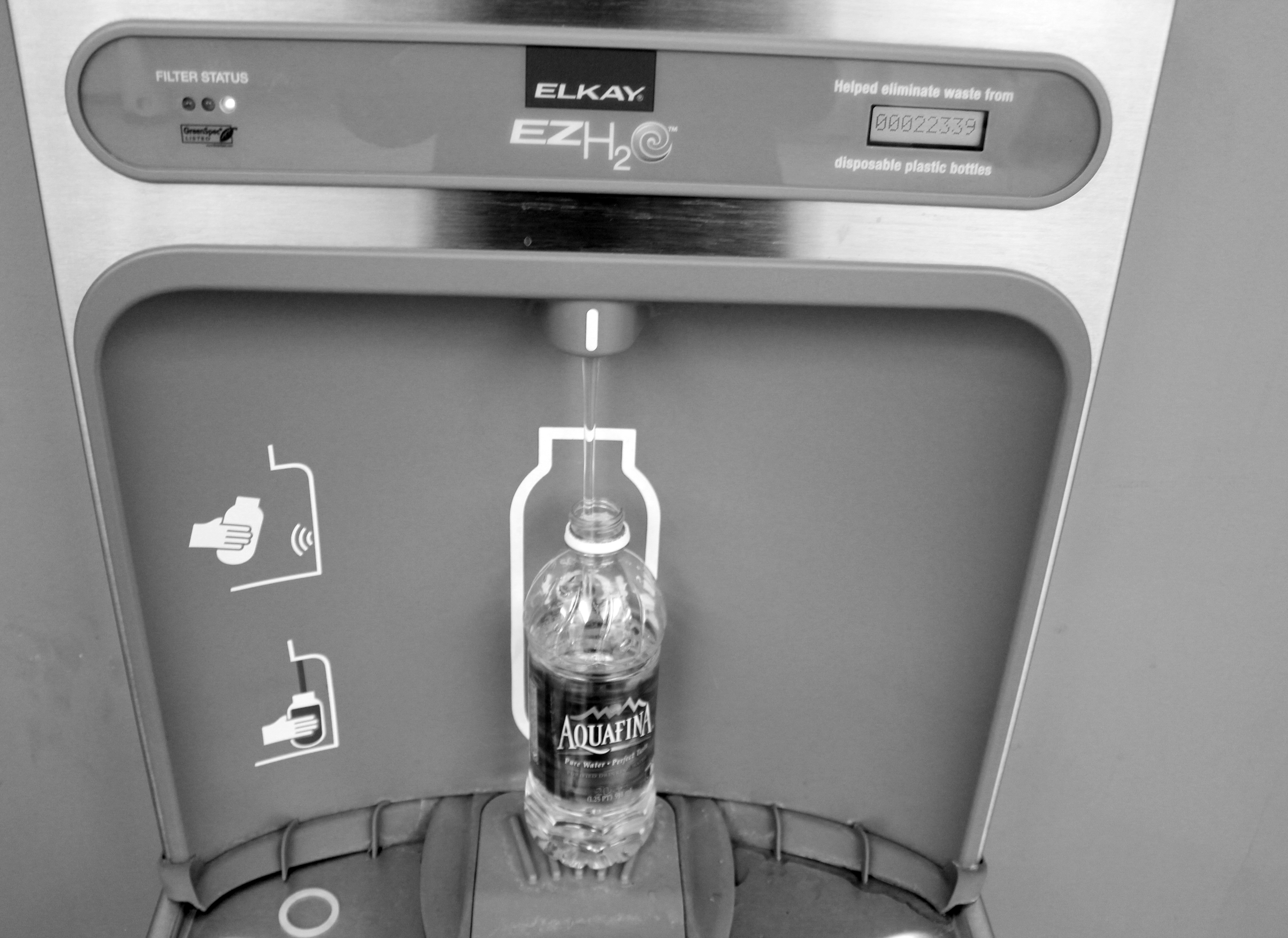 Water bottle filling station located on the second floor of the Busch Student Center. Kristen Miano/Associate News Editor