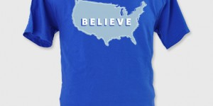 "The Romney ""Believe"" T-Shirt ($30) sends a patriotic message and supports more states 'turning red' despite some color confusion (Image courtesy of Store.MittRomney.com)."