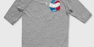 "The ""Vintage Romney Three-Quarter Sleeve Henley"" ($35) showcases Republican support and a comfortable cut (Image courtesy of Store.MittRomney.com)."