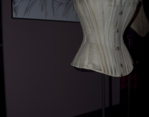 A corset displayed at the Missouri History Museum. (Deirdre Kerins / Staff Writer)