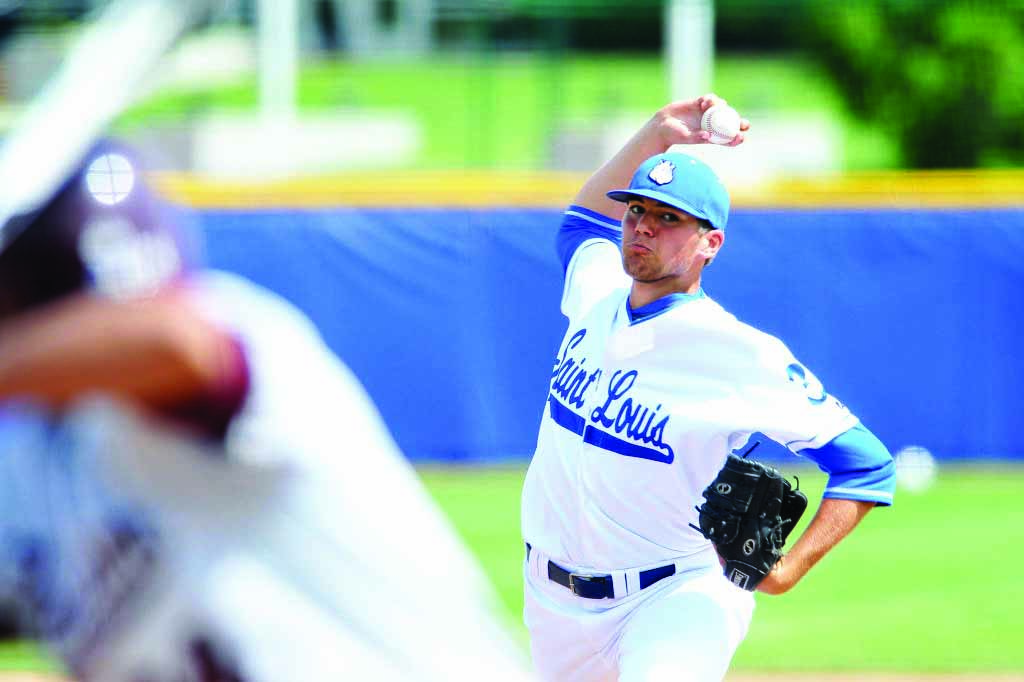 Fastball: Sophomore pitcher Robert Plohr closes the game against Kansas State, after freshman Connor Lehmann pitched a shut-out in the first 6 innings of his collegiate debut. Saint Louis Athletics