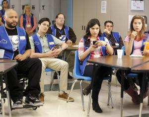 "SUPERSTORE -- ""Pilot"" -- Pictured: (l-r) Colton Dunn as Garrett, Ben Feldman as Jonah, America Ferrera as Amy, Nichole Bloom as Cheyenne -- (Photo by: Trae Patton/NBC)"