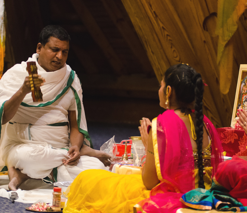 Diwali: Hindu priest leads prayer ceremony to celebrate the New Year. Ryan Quinn / Photo Editor