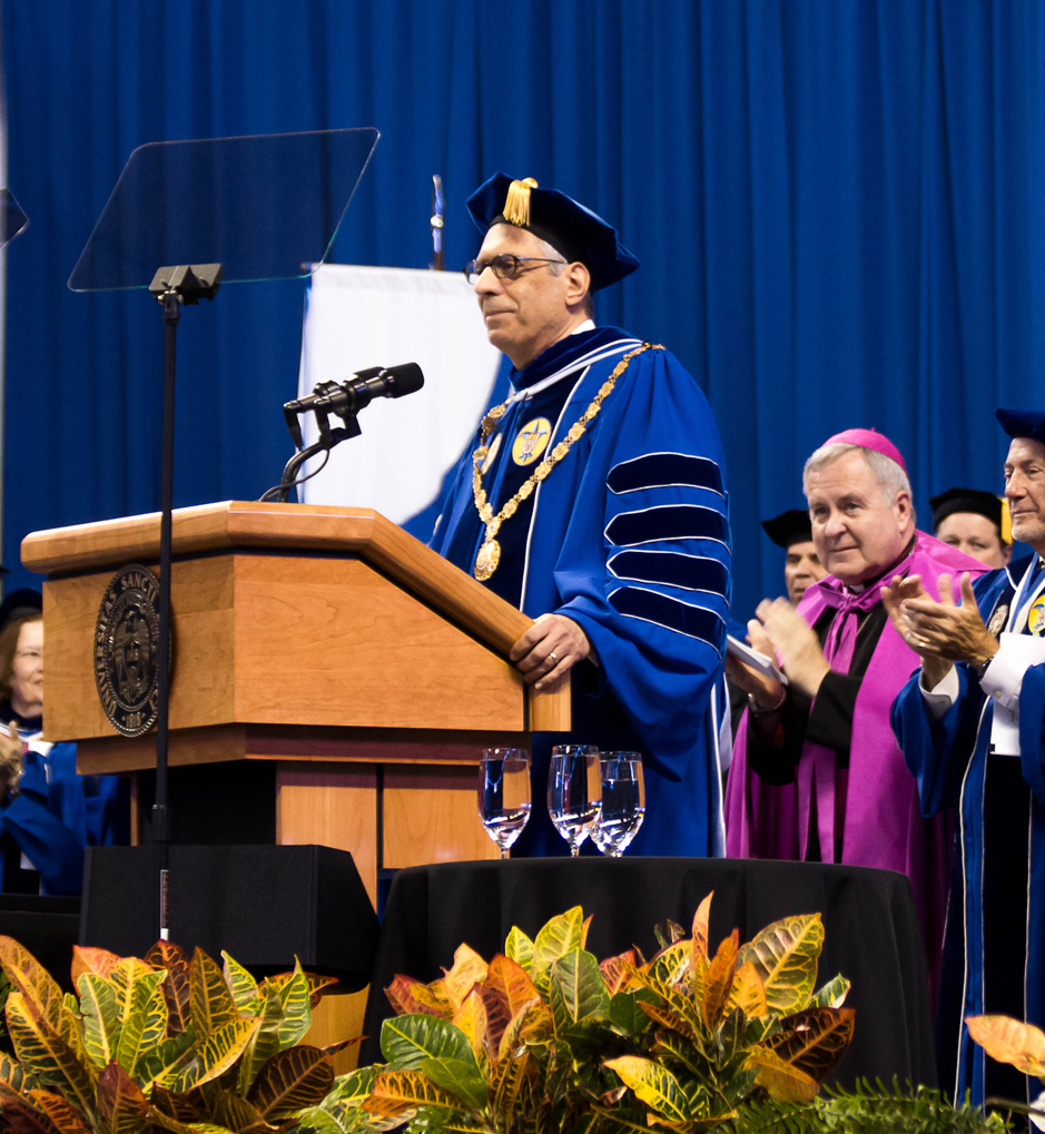 Pestello: SLU's new president gave an inaugural   address at the ceremony after being formally initiated. Javier Muro de Nadal / Stafff Photographer