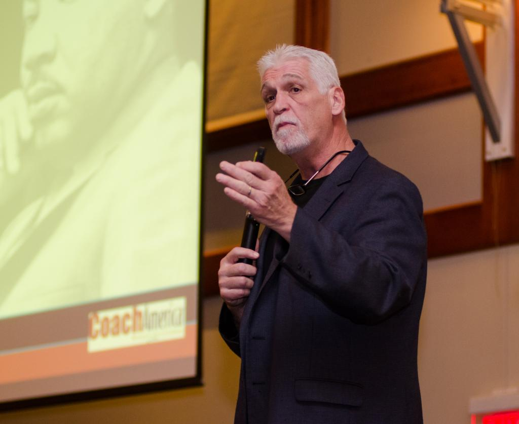 Recovering from the three lies: Joe Ehrmann speaking on his struggle in recovering from an abusive father who he says gave him all the wrong ideas about manhood. Ryan Quinn/ Photo Editor