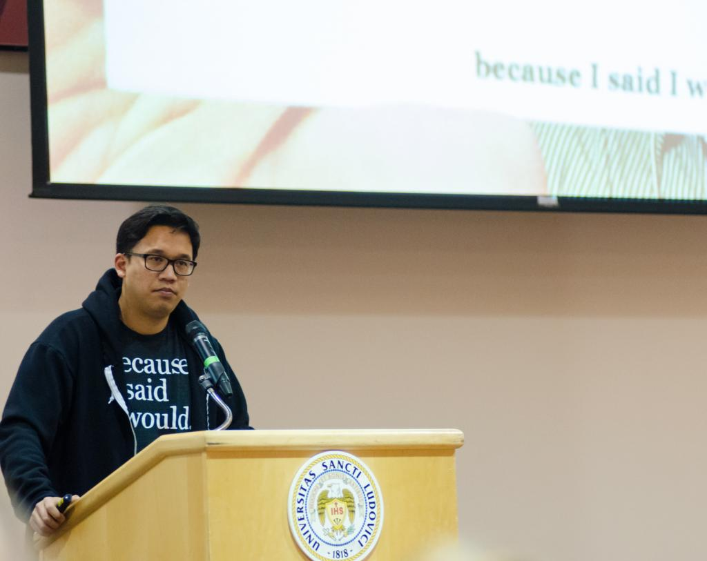 A man of his word: Sheen brought his promise-keeping movement to SLU. Ryan Quinn/ Photo Editor