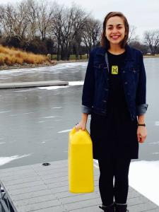 Jerry can: The yellow container has become a symbol of Vestal's campaign to raise money for clean water systems. Courtesy of Hannah Vestal