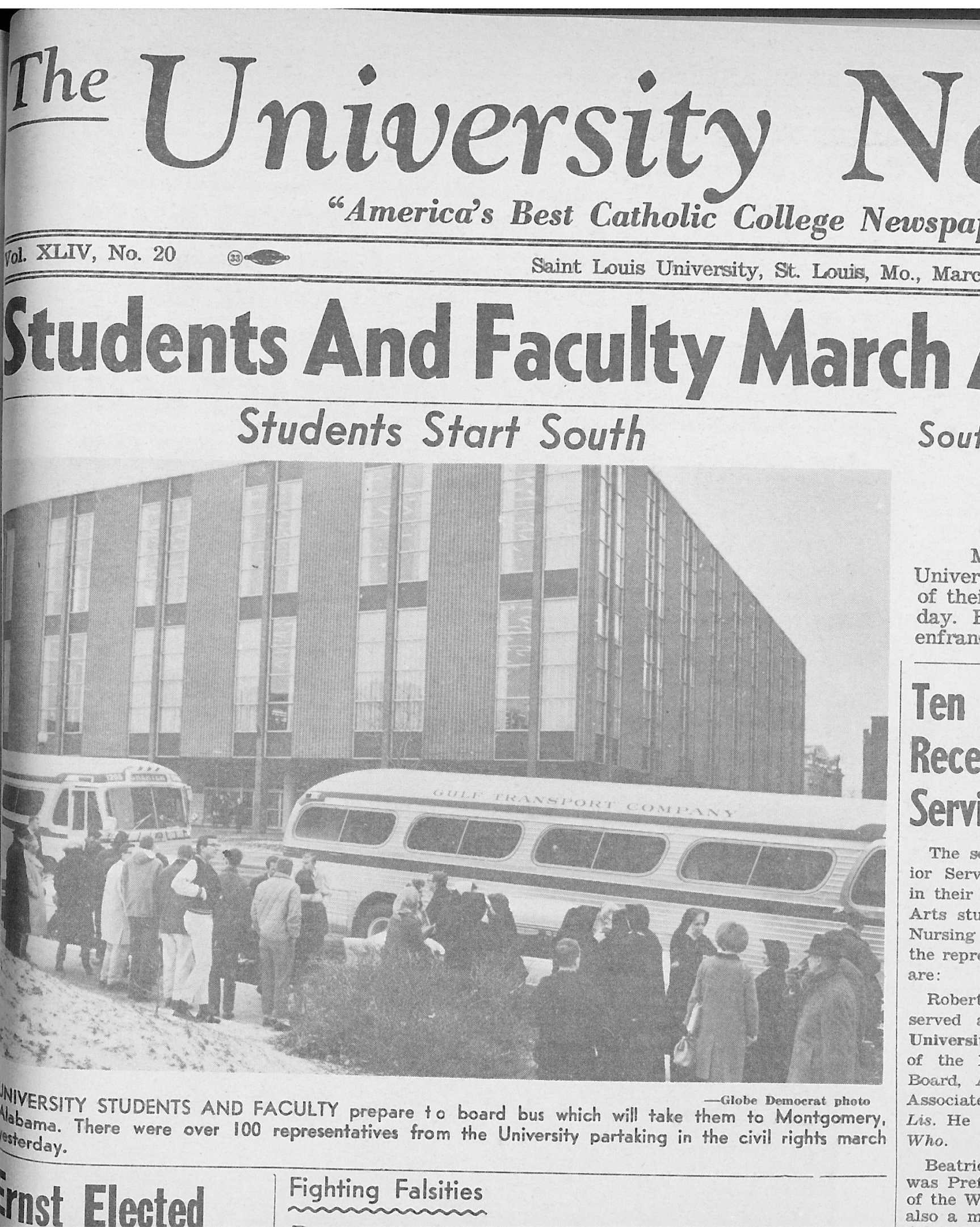 Selma: The Alabama town is one of numerous cities to be visited this spring break. SLU students participated in the seminal march that occurred there in 1965. The University News archives